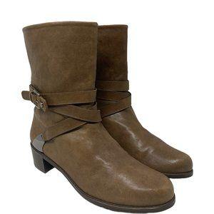 Stuart Weitzman Ranch Dressing Moto Brown Boots Size 9 M